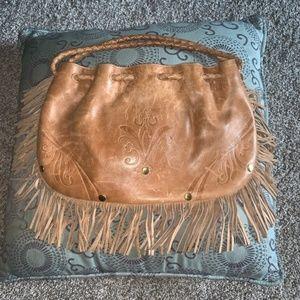 Elliiott Luca Camel Fringe Bag w/ embossed Floral